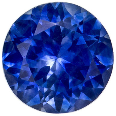 0.87 carats Blue Sapphire Loose Gemstone in Round Cut, Vivid Blue, 5.6 mm
