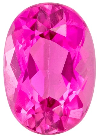 0.87 carats Pink Tourmaline Loose Gemstone in Oval Cut, Rich Hot Pink, 7 x 5 mm