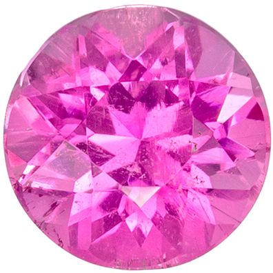 Excellent Pink Tourmaline Loose Gem Round Cut, Vivid Hot Pink, 5.9 mm, 0.87 carats