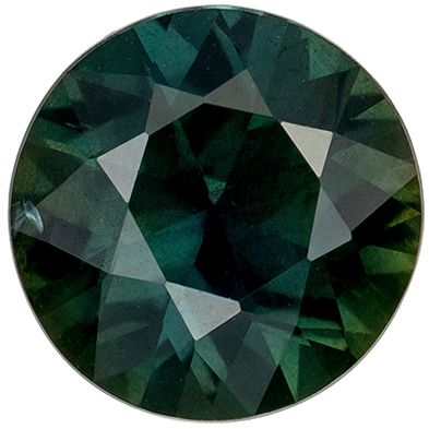 Highly Requested Blue Green Sapphire Genuine Loose Gemstone in Round Cut, 0.89 carats, Vivid Steely Green, 6.1 mm