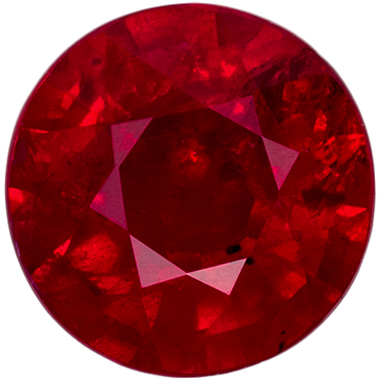 Lovely Ruby Natural Gem, 5.8 mm, Medium Rich Red, Round Cut, 0.89 carats
