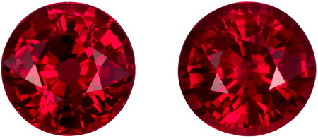 0.9 carats Ruby Well Matched Gem Pair in Round Cut, Vivid Pigeon's Blood, 4.4 mm
