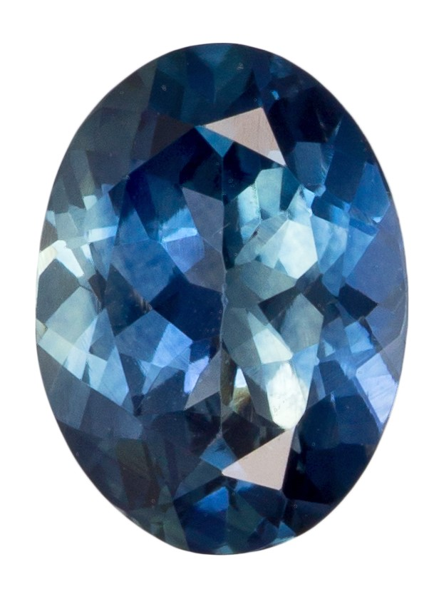 Rare Stone in 0.92 carats Sapphire Loose Genuine Gemstone in Oval Cut, Teal Blue, 6.8 x 5 mm