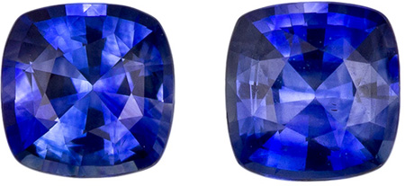0.93 carats Blue Sapphire Well Matched Gem Pair in Cushion Cut, Rich Blue, 4.5 mm