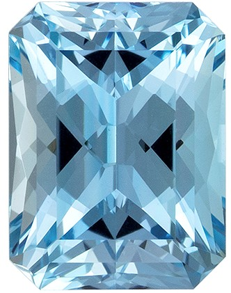 Great Deal on Blue Aquamarine Faceted Gem, 0.94 carats, Radiant Cut, 6.7 x 5  mm , Super Low Price