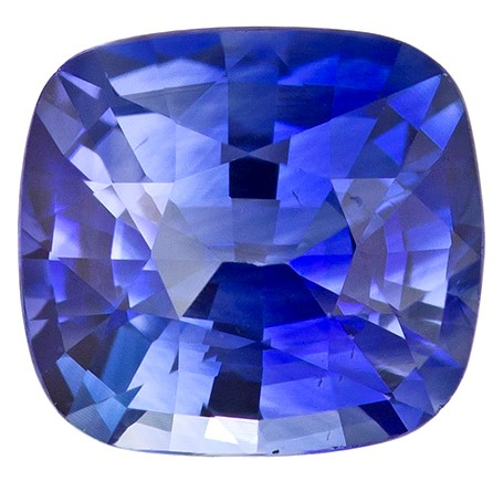 Serious Gem in 0.96 carats Sapphire Genuine Gemstone in Cushion Cut, Intense Blue, 5.9 x 5.4 mm