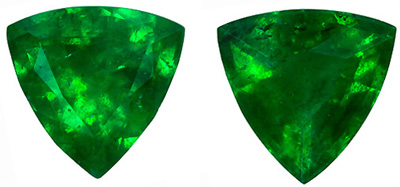 Loose Pair of Emerald Gemstones 0.96 carats, Trillion Cut, Very Bright Gems in 5.5   mm size