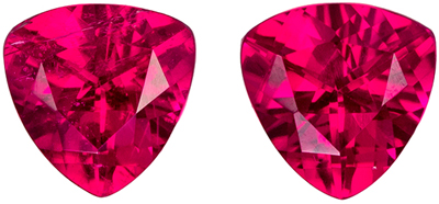 Classic 0.96 carats Rubellite Tourmaline Trillion Gemstone Pair, 5.1 mm