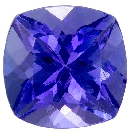 0.98 carats Tanzanite Loose Gemstone in Cushion Cut, Rich Blue Purple, 5.5 mm