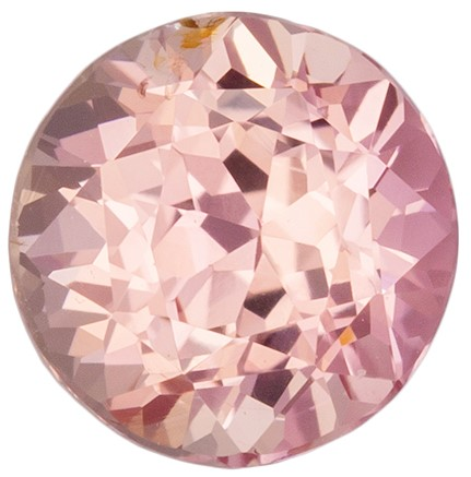 Loose Natural Padparadscha Sapphire Gem, 0.98 carats, Round Cut, 5.7 mm , High Quality - Low Cost Gem