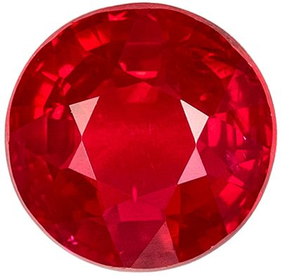 Very Desirable Ruby Genuine Loose Gemstone in Round Cut, 0.98 carats, Intense Open Rich Red, 5.8 mm
