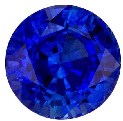 Beautiful Blue Sapphire Faceted Gem, 0.99 carats, Round Cut, 5.6 mm , Superb Stone - Low Price