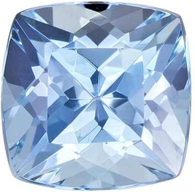 0.99 carats Aquamarine Loose Gemstone Cushion Cut, Pure Blue, 6.1 mm