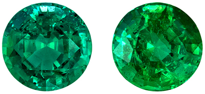 Bright & Lively Emerald Matched Pair, 5 mm, Vivid Rich Green, Round Cut, 0.99 carats