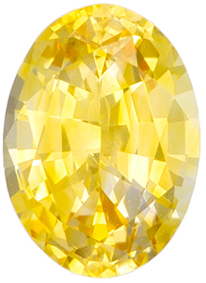 Calibrated Size Sapphire Quality Gem, 0.99 carats, Vivid Pure Yellow, Oval Cut, 7 x 5 mm
