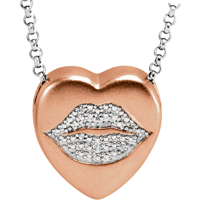 .02 Carat Total Weight Diamond Lips Heart Necklace