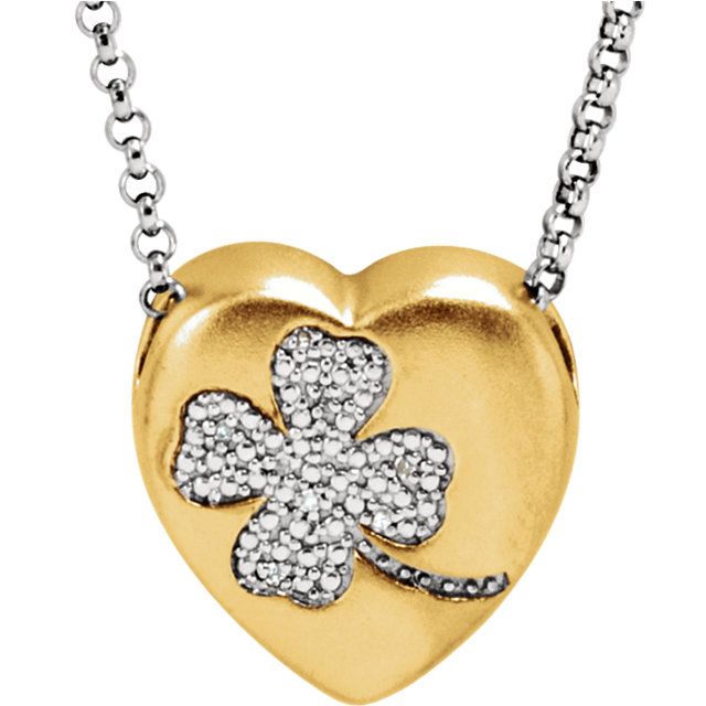 .025 Carat Total Weight Diamond Clover Heart Necklace