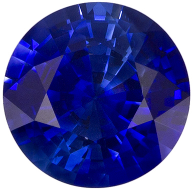1.01 carats Blue Sapphire Loose Gemstone in Round Cut, Intense Blue, 5.9 mm