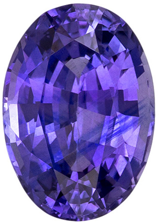 1.01 carats Purple Sapphire Loose Gemstone in Oval Cut, Vivid Violet Purple, 7 x 4.9 mm