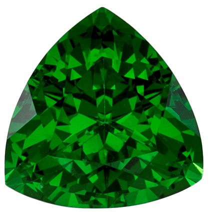 1.01 carats Tsavorite Loose Gemstone in Trillion Cut, Grass Green, 6.2 mm
