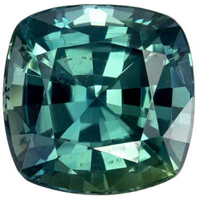 Hard to Find No Treatment Cushion Shape Blue Green Sapphire Gem, 1.02 carats, Open Teal Blue Green Color, 5.43 x 5.4 x 3.9 mm, GIA Certified