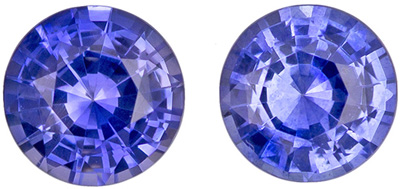 1.02 carats Blue Sapphire Well Matched Gem Pair in Round Cut, Medium Blue, 4.85 mm