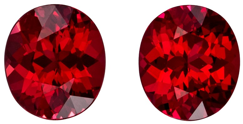 1.02 carats Red Spinel 2 Piece Matched Pair in Oval Cut, Open Pure Red, 5.2 x 4.5 mm