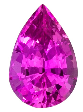 Natural Pink GIA No Heat Sapphire Gemstone 1.02 carats, Pear Cut, 7.72 x 5.09 x 3.68 mm
