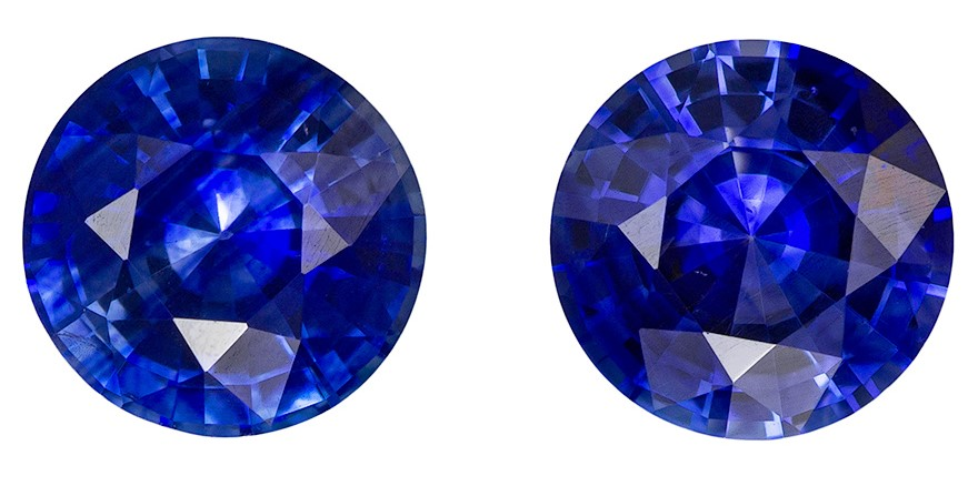 Perfect Gift in 1.04 Carats Matched Blue Sapphire Rounds for Earrings, Super Color and Cut in 5.0mm Size