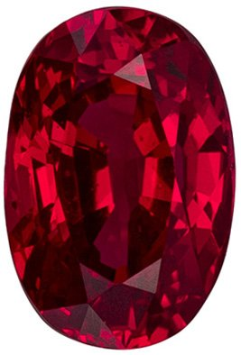 1.04 carats Rare No Treatment Ruby Gemstone in Oval Cut, Rich Pure Red, 6.8 x 4.6 mm - C.D. Certified