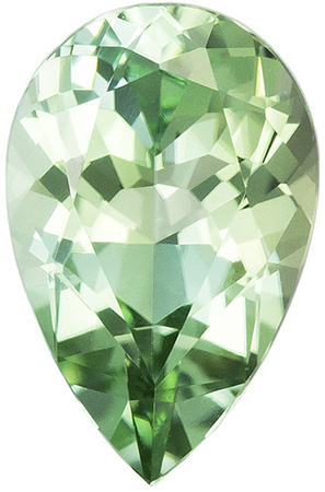 1.05 carats Blue Green Tourmaline Loose Gemstone in Pear Cut, Mint Green, 8.7 x 5.7 mm