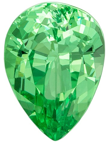Unique Green Mint Garnet Genuine Gemstone, 1.05 carats, Pear Cut, 7.4 x 5.4  mm , Top Top Gem - Low Cost