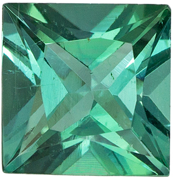 Classic 1.06 carats Blue Green Tourmaline Princess Genuine Gemstone, 5.8 mm