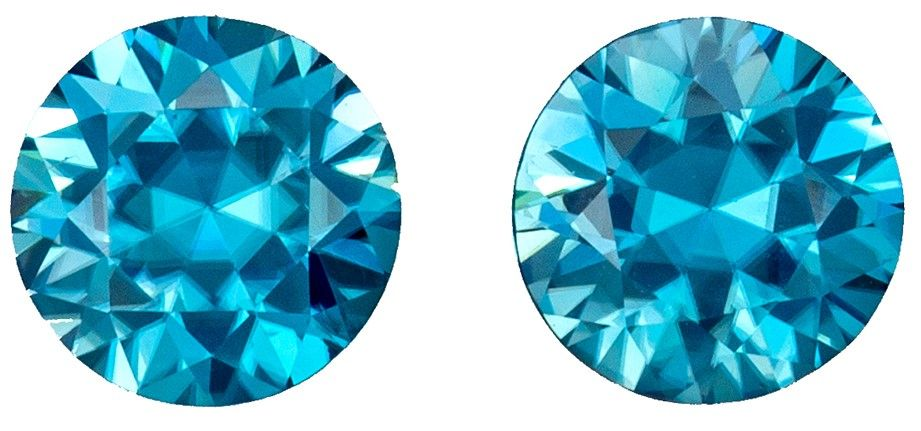So Fiery Hot Blue 1.06 carats Matched Blue Zircon Rounds in Perfect 6.0mm