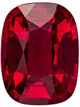Gem Red 1.07 carats Red Ruby Cushion Genuine Gemstone, 6.86 x 5.25 x 3.3 mm, GIA Cert