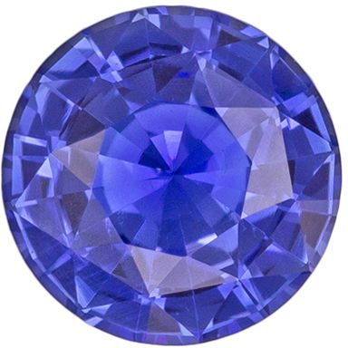 GIA Certified Untreated Blue Sapphire Genuine Gem Round Cut, Intense Rich Blue, 6.13 x 6.19 x 3.69 mm, 1.08 carats