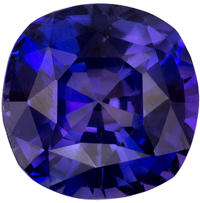 1.08 Carats Loose Purple Sapphire Gemstone in Cushion Cut, Rich Violet Purple Color in 5.7 mm