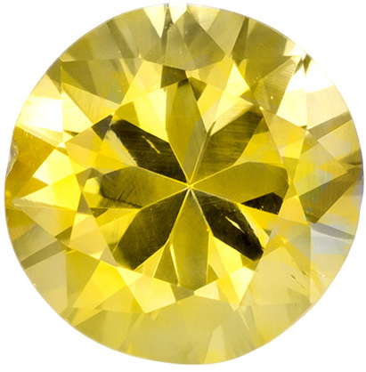 1.08 carats Yellow Sapphire Loose Gemstone in Round Cut, Medium Yellow, 6 mm