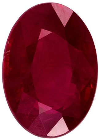 1.09 carats Ruby Totally Eye Clean Gemstone in Fine Medium Rich Red Color, 7 x 5 mm Oval Shape
