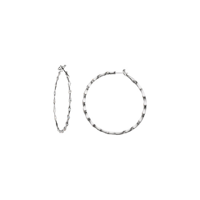 Easy Gift in 14 Karat White Gold 0.20 Carat Total Weight Diamond Inside/Outside Hoop Earrings