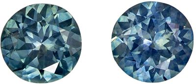Popular 1.1 carats Blue Green Sapphire Round Gemstone Pair, 4.9 mm