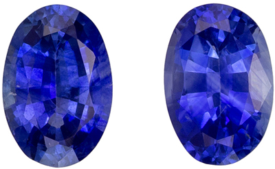 Vivid Blue Pair of 1.10 carat Blue Sapphire Ovals Earring Stones, 5.9 x 3.9mm