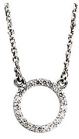 1/10 ct Elegant 14k White Gold Circle Necklace in Diamonds
