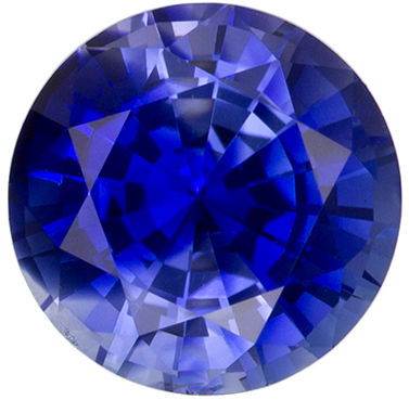 1.11 carats Blue Sapphire Loose Gemstone in Round Cut, Vivid Blue, 6.1 mm