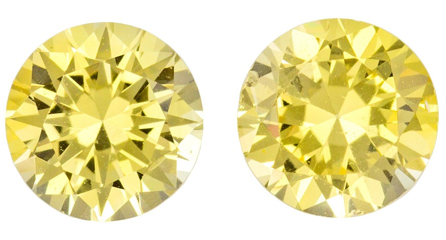 Natural Pair of Gemstone Yellow Sapphire Gemstones,, Diaamond Like 1.11 carats, Round Cut, 5   mm