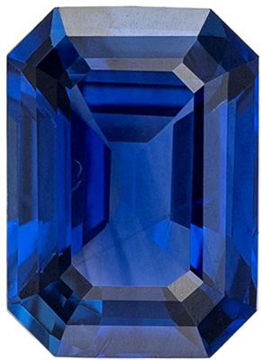 Wonderful Blue Sapphire Genuine Loose Gemstone in Emerald Cut, 1.13 carats, Vivid Rich Blue, 6.9 x 5 mm