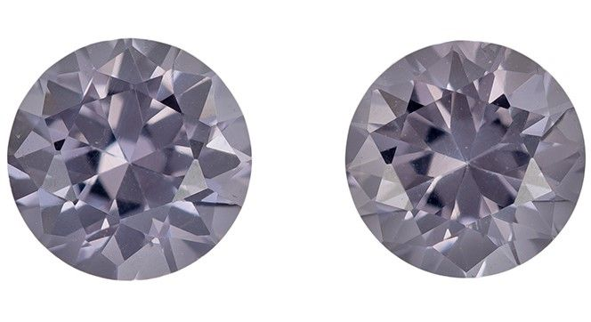 Genuine Gray Spinel Gemstone Matched Pair, 1.13 carats, Round Cut, 4.9 mm, Low Priced Gems