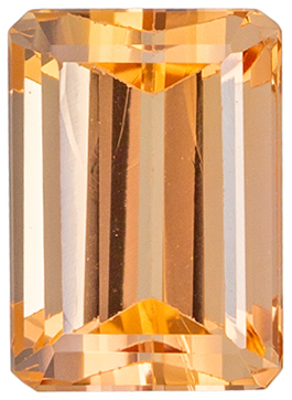 Bright & Lively Topaz Loose Gem, 6.5 x 4.7mm, Peach Golden, Emerald Cut, 1.13 carats