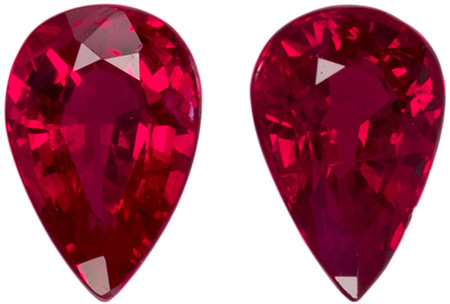 Super Fine Matched Ruby Pair Natural Gemstones 1.13 carat, Pear Cut, 6.1 x 4.1  mm