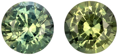 Highly Requested Sapphire Gem Pair, 4.9 mm, Yellowish Lime Green, Round Cut, 1.15 carats